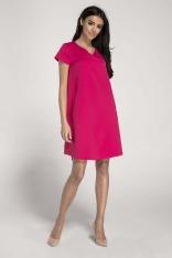 Różowa Trapezowa Sukienka w Serek z Kieszeniami