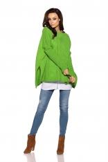 Asymetryczny Zielony Sweter Ponczo z Warkoczem