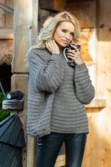 Mocca Oversizowy Sweter w Prążek z Niską Stójką