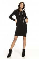 Czarna Wzorzysta Sukienka w Sportowym Stylu z Kapturem w Zygzaki