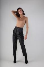 Czarne Spodnie Kuloty z Eko-skóry