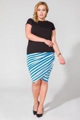 Dopasowana Spódnica Drapowana na Boku Plus Size