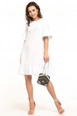 Biała Luźna Letnia Sukienka Wykończona Falbankami