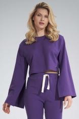 Krótka Bawełniana Bluza z Szerokim Rozciętym Rękawem - Fioletowa