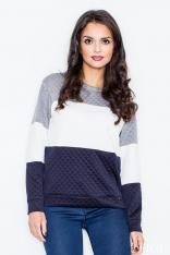 Granatowo-biała Klasyczna Prosta Pikowana Bluza