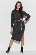Asymetryczna Dzianinowa Sukienka z Logowanym Paskiem - Grafitowa