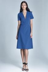 Elegancka Niebieska Sukienka Midi z Głębokim Dekoltem w Szpic