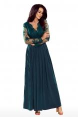 Zielona Wieczorowa Sukienka Maxi z Koronkową Górą