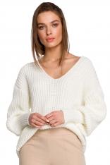 Sweter V- Neck z Szerokim Ściągaczem - Ecru