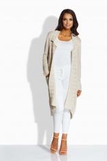 Beżowy Długi Sweter-Narzutka z Kieszeniami