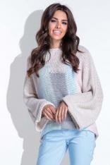 Wielokolorowy Beżowy Nietoperzowy Sweter