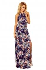 Maxi Sukienka Wiązana na Szyi w Kwiaty