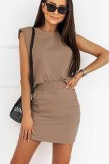 Komplet Dresowy Bluzka + Mini Spódniczka - Mocca