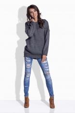 Grafitowy Oversizowy Sweter z Satynową Wstążką na Plecach