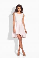 Rozkloszowana Asymetryczna Pudrowa Sukienka