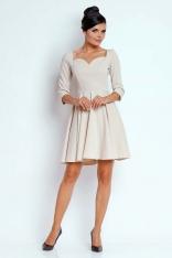 Beżowa Kobieca Rozkloszowana Sukienka z Dekoltem w Serce