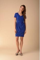 Dopasowana Sukienka z Modelującymi Zakładkami - Niebieska