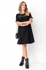 Trapezowa Czarna Sukienka z Tiulowymi Dodatkami