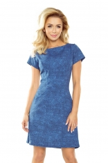 Jasno Jeansowa Sukienka Trapezowa z Wsuwanymi Kieszeniami