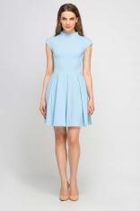 Błękitna Sukienka Wizytowa na Stójce z Kontrafałdami