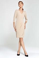 Beżowa Sukienka z Asymetrycznym Drapowaniem