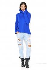 Chabrowa Oversizowa Bluza z Obszernym Golfem