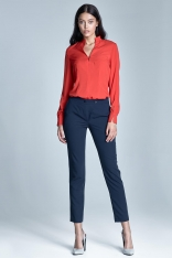 Granatowe Eleganckie Spodnie Cygaretki z Asymetrycznym Zapięciem