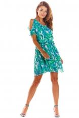Zielona Zwiewna Letnia Sukienka w Kwiaty z Rozciętym Rękawem