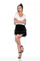 Czarna Rozkloszowana Mini Spódnica z Koronką