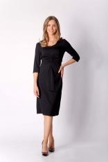 Czarna Dzianinowa Sukienka z Elementami Drapowania