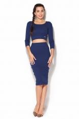 Bawełniany Komplet Midi Spódnica + Krótka Bluzka - Niebieski