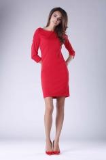 Krótka Dopasowana Sukienka z Elementami Drapowania - Czerwona