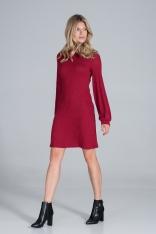 Dzianinowa Sukienka z Golfem - Czerwona