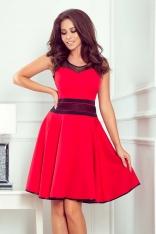Czerwona Efektowna Rozkloszowana Sukienka z Tiulem