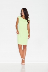 Zielona Prosta Sukienka Midi z Przeszyciami