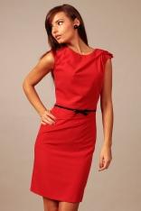 Czerwona Elegancka Koktajlowa Sukienka z Paskiem