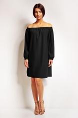 Czarna Wyjściowa Sukienka z Dekoltem Poniżej Ramion z Długim Rękawem