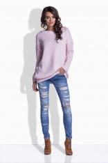Różowy Oversizowy Sweter z Satynową Wstążką na Plecach