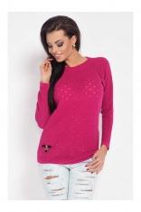 Kobiecy Amarantowy Sweter w Dziurki