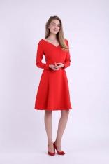 Czerwona Rozkloszowana Sukienka z Dekoltem w Kształcie Litery V