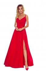 Czerwona Maxi Sukienka na Ramiączkach z Kopertowym Dekoltem