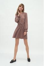 Krótka Sukienka z Długim Rękawem - Mocca