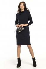 Granatowa Bawełniana Sukienka z Golfem