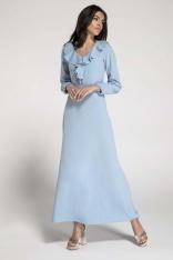 Długa Błękitna Sukienka z Falbankami przy Dekolcie
