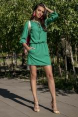 Zielona Codzienna Komfortowa Sukienka Sznurowana przy Dekolcie