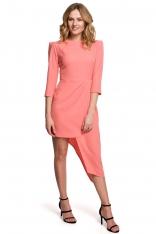 Dopasowana Sukienka z Asymetrycznym Dołem - Pomarańczowa