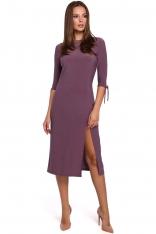 Wrzosowa Wizytowa Sukienka z Rozcięciem na Boku w Fioletowym Kolorze