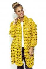 Żółty Nietuzinkowy Kardigan o Trójwymiarowym Splocie