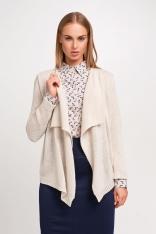 Beżowy Elegancki Sweter Narzutka z Wolnymi Połami