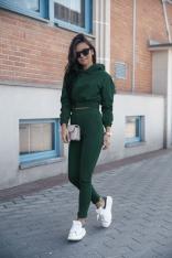 Wygodny Dres Krótka Bluza z Kapturem i Wąskie Spodnie - Zielony